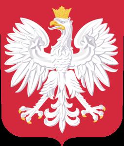 Godło Rzeczypospolitej Polskiej, orzeł w koronie na czerwonym tle
